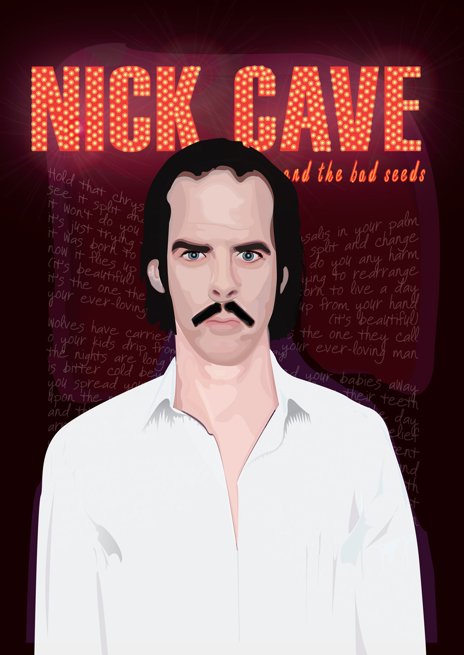 Nick Cave Fan Art from designer Tim Van Martin